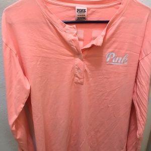 PINK peach/white long sleeve